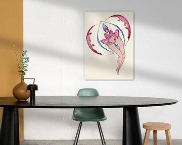 Weibliches Feuer, Yoni-Kunst. von Kirsten Jense Illustraties.
