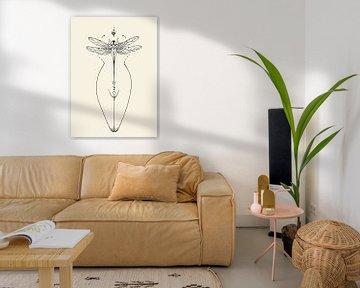 Grafik Libelle Frau von Kirsten Jense Illustraties.