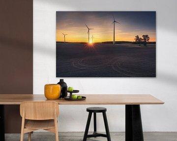 Windturbines in de zonsondergang van Skyze Photography by André Stein