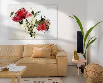 Floral in Rot von annemiek groenhout