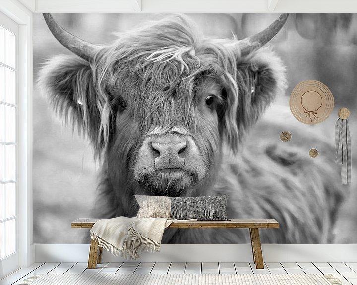 Sfeerimpressie behang: Schotse Hooglander / koe / Zwart / Wit van Ton Tolboom