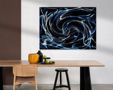 Abstrakt in Blau und Weiß von Maurice Dawson