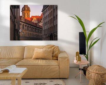 In Augustus Street Dresden in de ochtend van Marc-Sven Kirsch