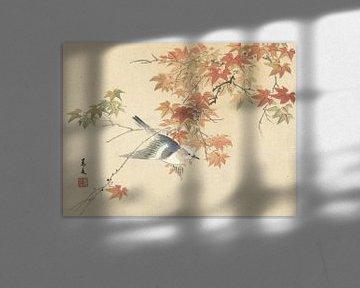 Vogel, der in der Nähe von Herbstzweigen fliegt von Matsumura Keibun - 1892