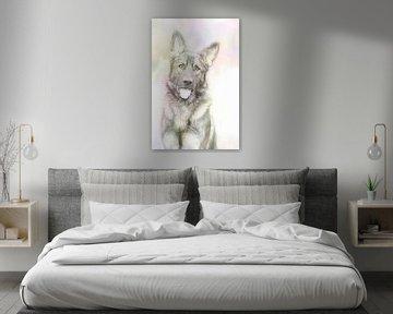 Schäferhund in sanften Farben von Michar Peppenster