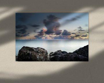 Endlose IJsselmeerküste bei Sonnenuntergang von Fotografiecor .nl