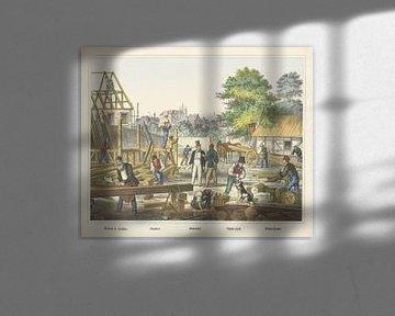 Ricinto di cantiere. / Chantier. / Holz-Hof. / Holz-Hof. / Schreinerei von J. Scotti, 1829 - 1880