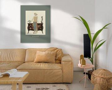 Rosalinde - Chique Dame, Art Deco, Vintage Mode Druck in dunkelgrün von NOONY