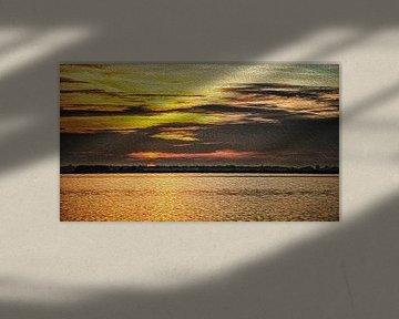 Een zonsopkomst in het Noord Hollands landschap, schilderachtig mooi van Studio de Waay