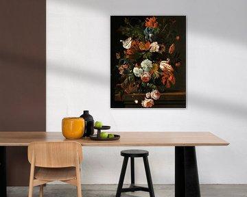 Ernst Stuven, Stilleben mit Blumen auf einem Steinsockel