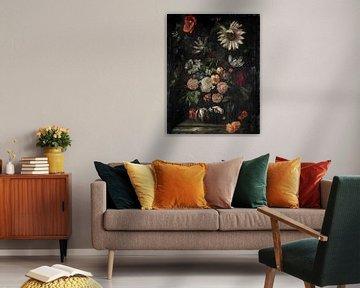Ernst Stuven, Rosen, Tulpen, Mohnblumen, eine Sonnenblume und andere Blumen