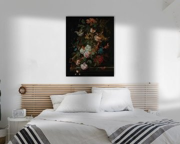 Ernst Stuven, Stillleben mit Blumen in Glasvase mit Schmetterling von Atelier Liesjes