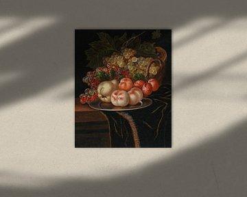 Ernst stuven, Fruit en insecten op een zilveren bord op een tafel