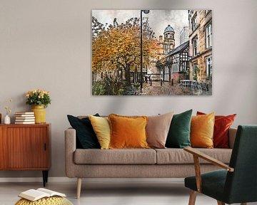 Art de l'aquarelle de Manchester #Manchester sur JBJart Justyna Jaszke