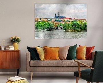 Prag Aquarell Kunst #Prag von JBJart Justyna Jaszke