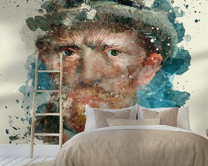 Sfeerimpressie behang: Zelfportret, Vincent van Gogh, 1887 van zippora wiese