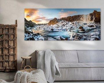 Waterval panorama IJsland van Thijs Vermeer