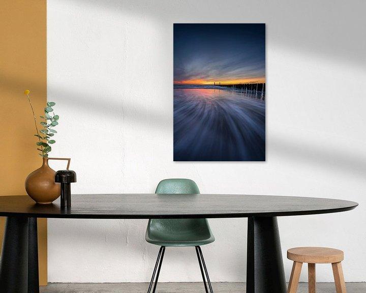 Impression: Deep Blue (brise-lames au coucher du soleil en Zélande) sur Thom Brouwer