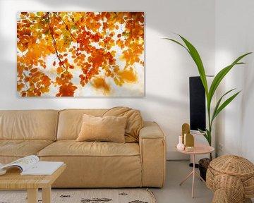 Herfstbladeren in schilderij stijl van Francis Dost