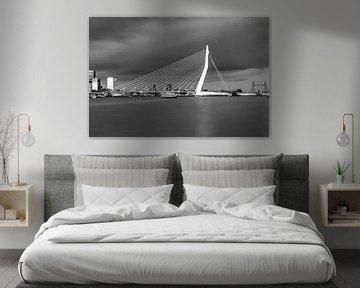 De mooie en indrukwekkende skyline van Rotterdam in zwart-wit van Miranda van Hulst