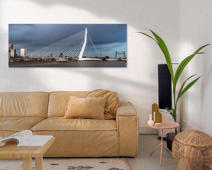 Impression: Photo panoramique de la ligne d'horizon de Rotterdam sur Miranda van Hulst