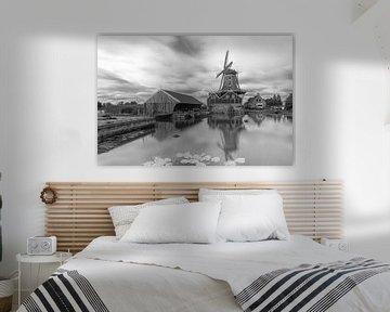 Mill de Rat in IJlst, Friesland (Schwarz/Weiß) von Marcel van den Bos
