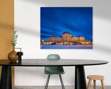 Langzeitbelichtung von Schloss Solitude während der Blauen Stunde im Winter von Keith Wilson Photography