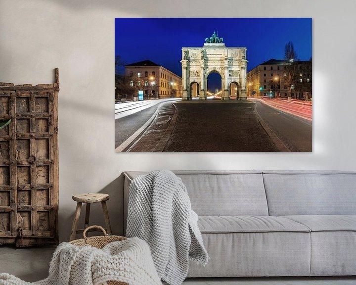 Sfeerimpressie: Siegestor München op het blauwe uur van Frank Herrmann