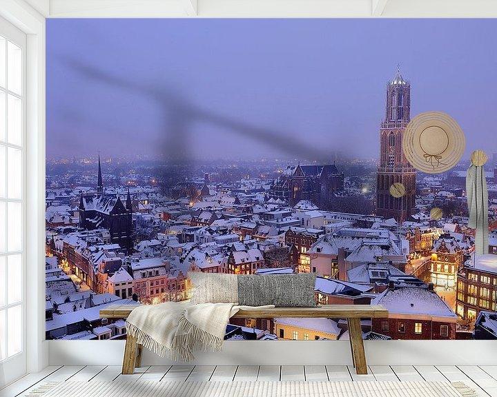 Beispiel fototapete: Die verschneite Stadt Utrecht mit Dom Tower und Domkerk (2) von Donker Utrecht