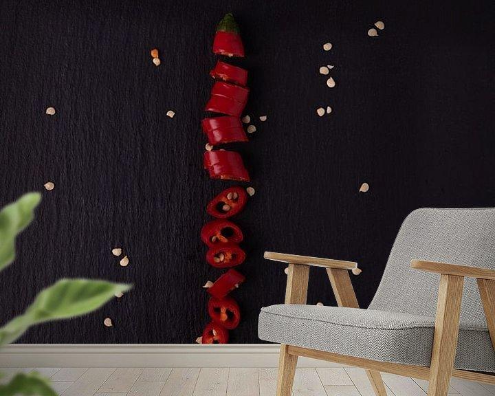 Sfeerimpressie behang: enkele peper 4 van 4 van Anita Visschers