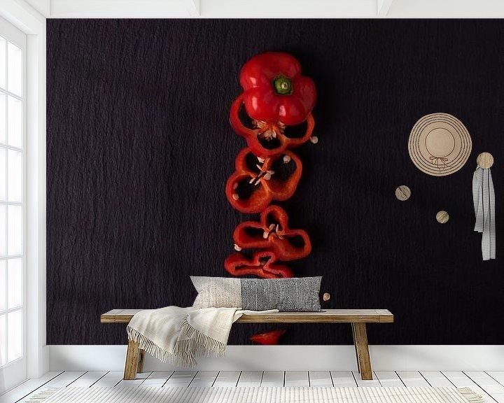 Sfeerimpressie behang: enkele peper 1 van 4 van Anita Visschers