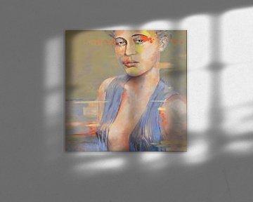 Portret moderne vrouw met geel en oranje vlakken met erotische blouse van VDB schildersatelier