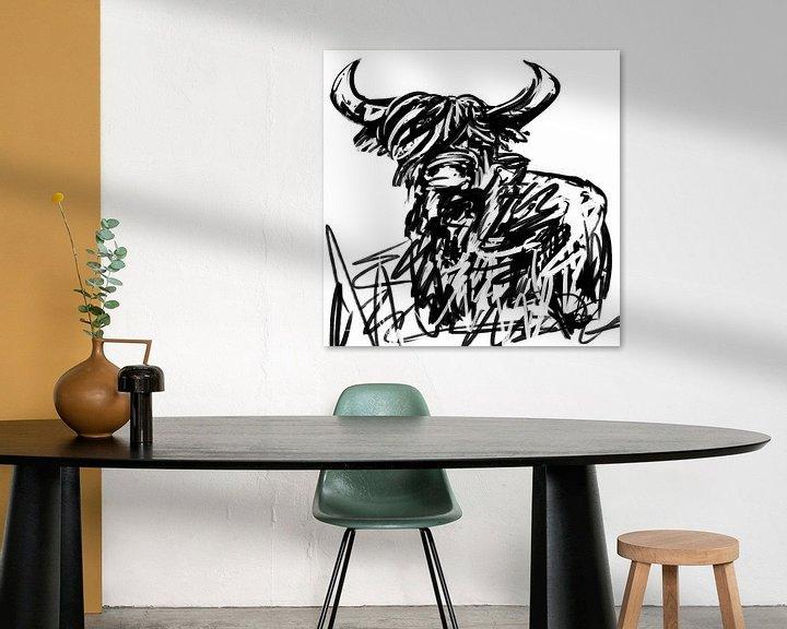 Beispiel: Schwarz-Weiß-Kunstwerk des schottischen Highlanders von Wanddecoratie