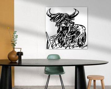 Zwart wit kunstwerk van schotse hooglander van Emiel de Lange