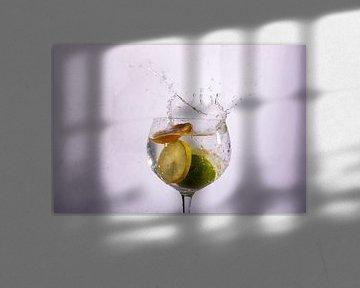 Drei Fruchtstücke in Wasser von Rob Hansum