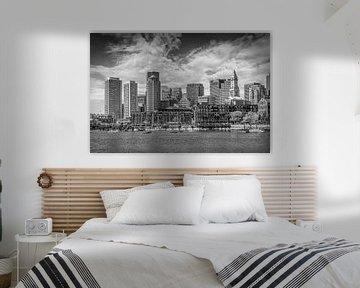 BOSTON Skyline North End & Financial District | Monochrom von Melanie Viola