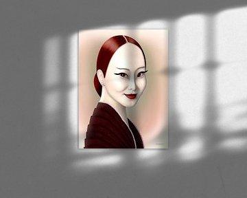 Dame In Rood van Ton van Hummel (Alias HUVANTO)