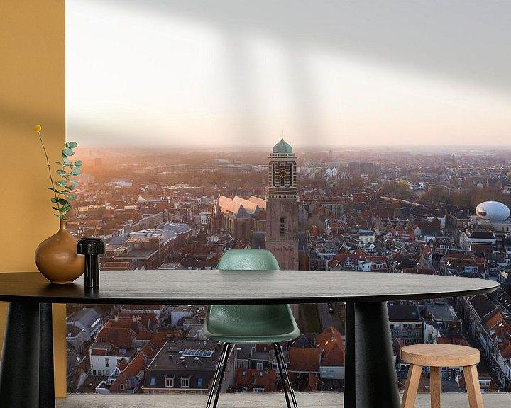 Sfeerimpressie behang: Zwolle van boven, Peperbus Zwolle centrum van Thomas Bartelds