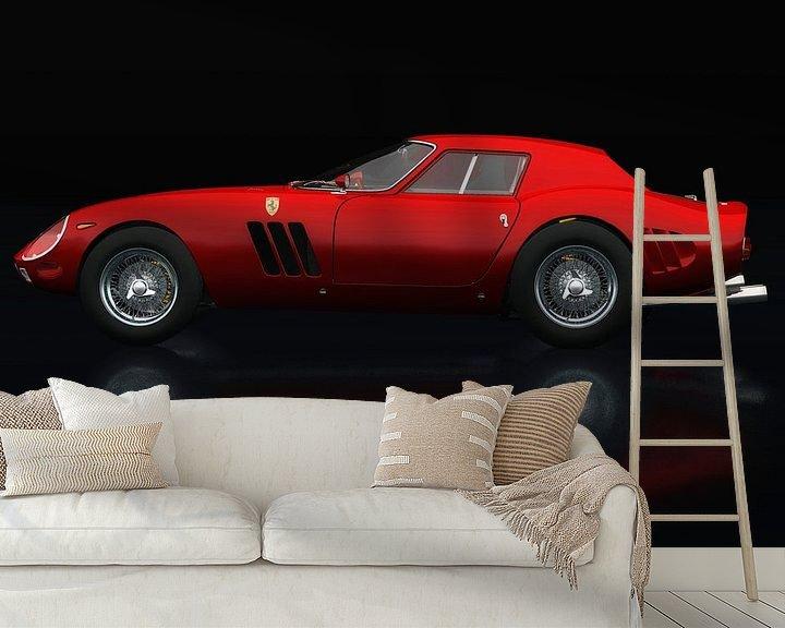 Sfeerimpressie behang: Ferrari 250 GTO Zijaanzicht van Jan Keteleer