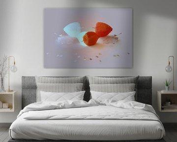Lampionplant, stilleven minimal art van Ina Hölzel