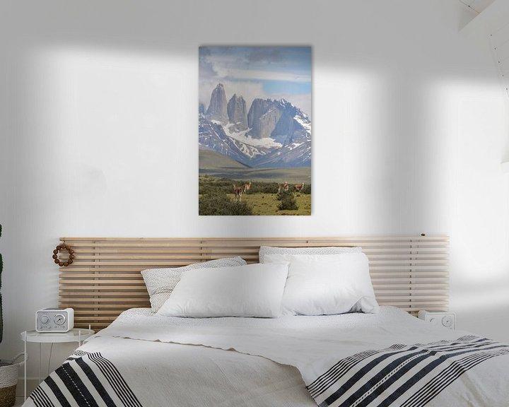 Sfeerimpressie: Uitzicht op Torres del Paine met guanaco's op de voorgrond van Jille Zuidema