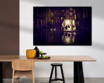 Drijvend hemelbed in de grachten van Amsterdam van Ellis Peeters