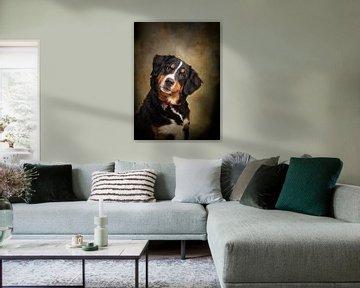 Hundemalerei mit Portraitfoto eines Berner Sennenhundes von Diana van Tankeren