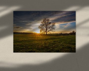 Zonsondergang bij Neschwitz van Holger Spieker