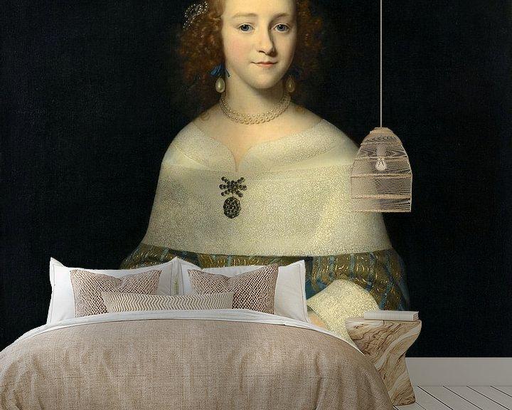 Sfeerimpressie behang: Portret van een jonge vrouw, Isaack Luttichuys - 1656