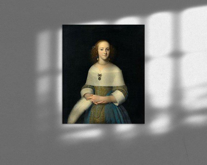 Sfeerimpressie: Portret van een jonge vrouw, Isaack Luttichuys - 1656