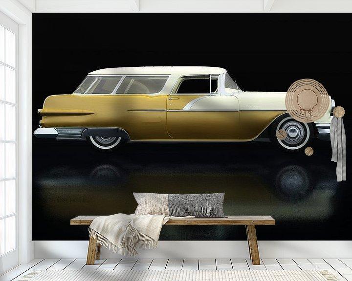 Sfeerimpressie behang: Pontiac Station Wagon Zijaanzicht van Jan Keteleer