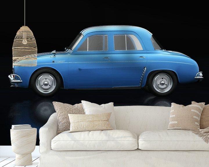 Sfeerimpressie behang: Renault Dauphine Gordini Zijaanzicht van Jan Keteleer