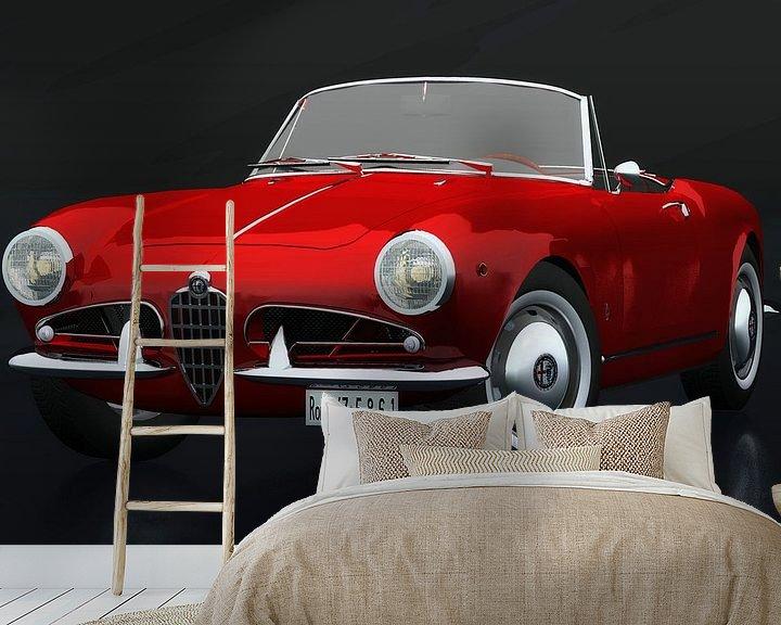 Sfeerimpressie behang: Alfa Romeo Giulietta 1300 Spyder 1955 driekwart aanzicht van Jan Keteleer