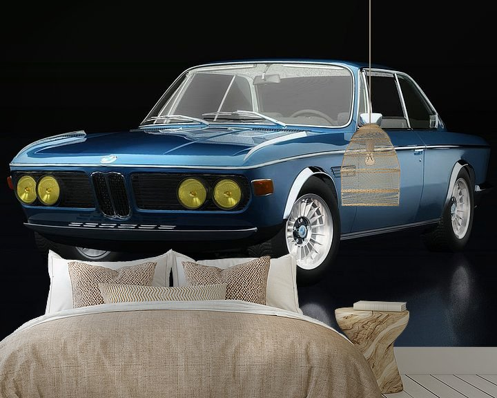 Sfeerimpressie behang: BMW 3.0 CSI 1971 driekwart zicht van Jan Keteleer